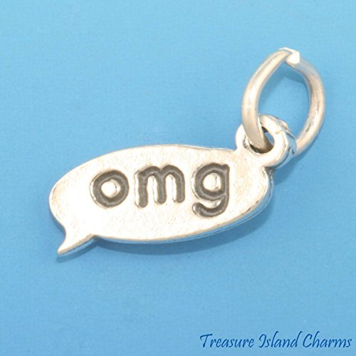 Text OMG SMS Message Oh My God .925 Solid Sterling Silver Charm Texting Chat Ideal Gifts, Pendant, Charms, DIY Crafting, Gift Set from Heart by Wholesale Charms