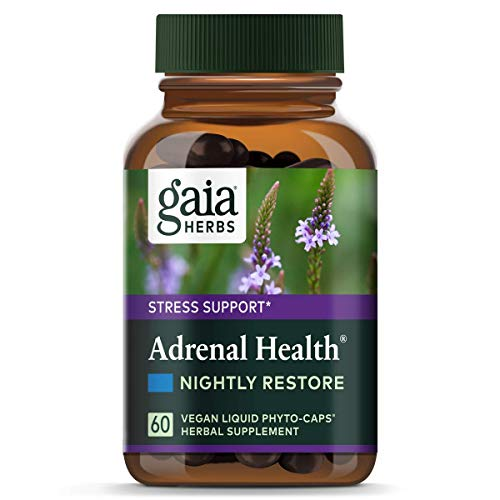 Gaia Herbs Adrenal Health Nightly Restore, Vegan Liquid Capsules, 60 Count - Calming Sleep and Stress Support, Ashwagandha, Reishi, Cordyceps, Lemon ()