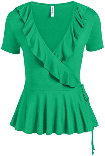 omen Regular and Plus Size Deep V Neck Surplice Top,Kelly Green,Medium (Green Surplice)