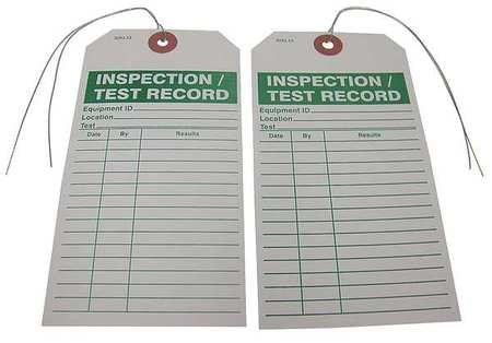 Inspection/Test Record Tag, 3 in. W, PK25