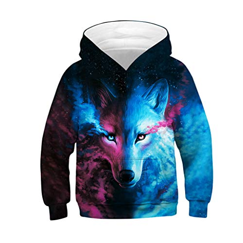 ❤️ Mealeaf ❤️ Kids Boys Girls Hoodies Sweatshirt 3D Galaxy Fleece Print Cartoon Hooded Coat Tops Clothes 4-13 Years (Cute Crop Tops For 10 Year Olds)