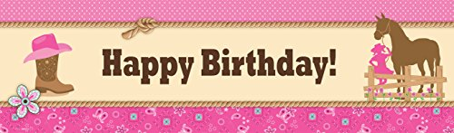 Western Cowgirl Party Party Decorations - Vinyl Birthday Banner (Horse Centerpiece)