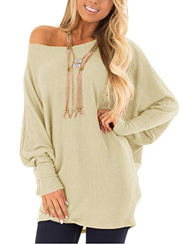 EZBELLE Womens Loose Baggy OversizedSweaters Off The Shoulder Tops Long Sleeve Pullover Sweater Knit Jumper Beige X-Large