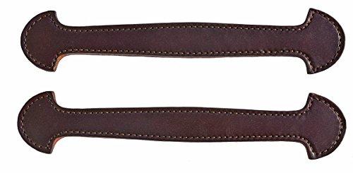 Leather Steamer Trunk - Pair of Havana Brown Leather Steamer Trunk Handles