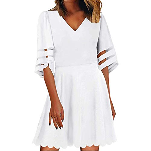 - Respctful✿Women's Fashion V Neck Solid Tunic Dress 3/4 Bell Sleeve Flare Dress Casual Loose Chiffon Swing Dress White