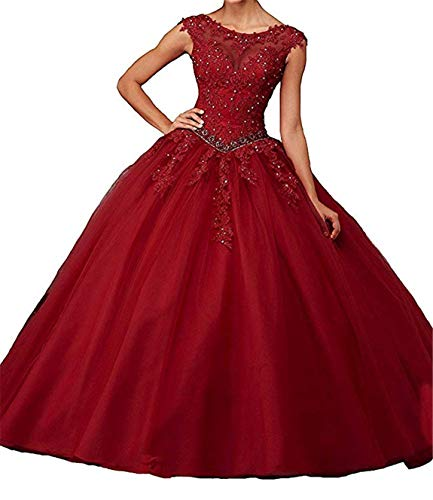 Scarisee Women's Ball Gown Illusion Neck Lace Appliqued Quincenera Dresses Formal Prom Evening Party Gowns Burgundy 20W