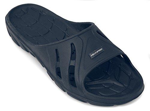 Aqua-Speed Badeschuhe Badelatschen Schwimmbadschuhe für Kinder und Erwachsene Alabama Navyblau