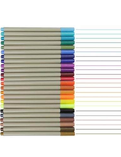 MEEDEN 0.3 mm Fineliner Felt Tip Color Pens Fine Tip Marker Pen Set, 24 Assorated Colors (0.3 Mm Fineliner Pens)
