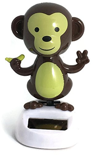 Sunlight Monkey Dancing Solar Power Wiggle Brown