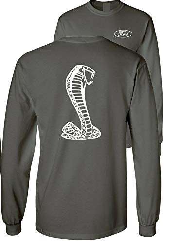 Ford Mustang American Shelby White Snake Long Sleeve T-Shirt F&B, Charcoal, XL