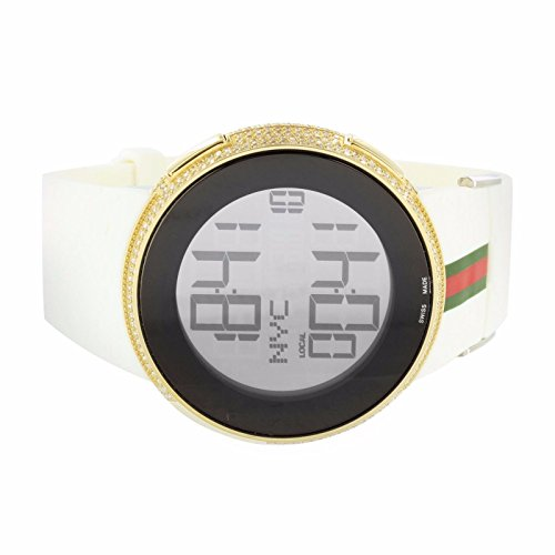 I Gucci YA114214 Watch 4Ct Diamond Mens Digital Dial Swiss White Rubber Band