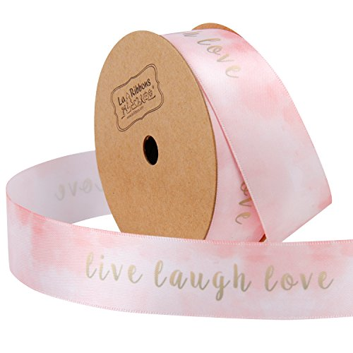 LaRibbons 1 Inch Watercolor Continuous 10 Yards Roll, Live Laugh Love Double face Satin Ribbon one Side Printed, Pink,