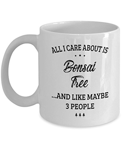Bonsai Tree Mug - I Care And Like Maybe 3 People - Funny Novelty Ceramic Coffee & Tea Cup Cool Gifts for Men or Women with Gift Box