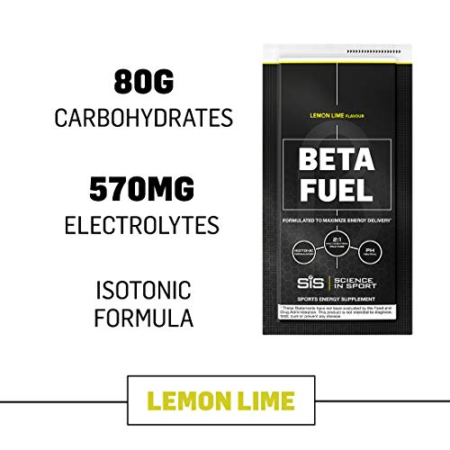 Science in Sport Beta Fuel, Endurance Energy Drink, Isotonic Sports Drink with 80g of Carbohydrates, Lemon & Lime – 12 Pack