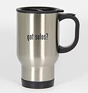 got solos? - 14oz Silver Travel Mug