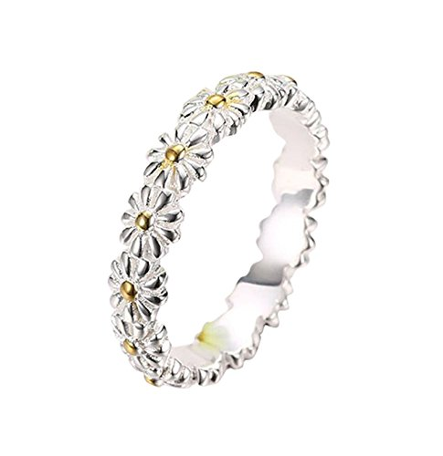 Adisaer Womens Silver Rings Silver Cluster Flower Daisy Chamomile Ring Size 9