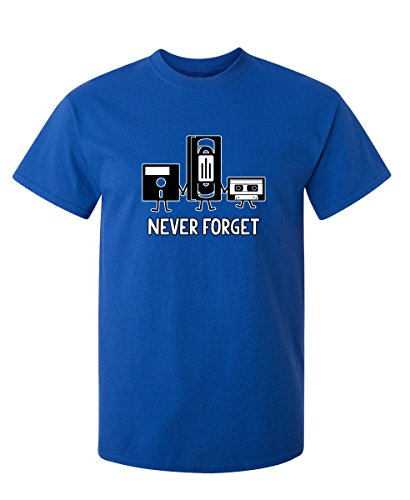 Never Forget Funny Retro Music Mens Novelty Funny T Shirt XL Royal