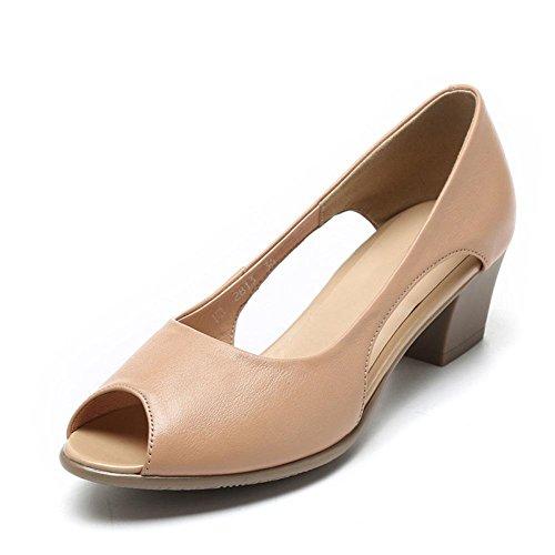 QL@YC Frauen Sommer Sandalen Leder Weichen Unteren Casual Fisch Mund High Heels GroßE GrößE Schuhe Kleid , brown , 40