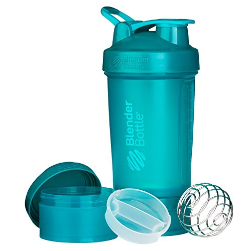 Teal Twist (BlenderBottle ProStak System with 22-Ounce Bottle and Twist n' Lock Storage, Teal)