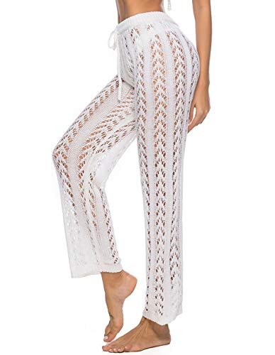 Kistore Women's Comfy Casual Pajama Pants Solid Palazzo Lounge Wide Leg Swim Cover Up Pants