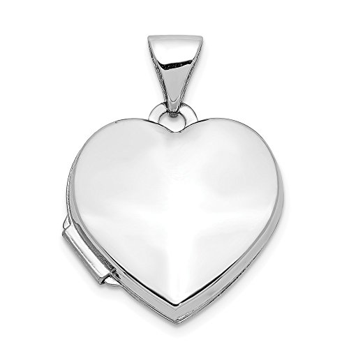 - 14k White Gold Heart Shaped Photo Pendant Charm Locket Chain Necklace That Holds Pictures Fine Jewelry Gifts For Women For Her