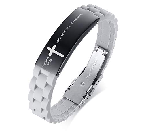 MEALGUET with God All Things are Possible Matthew 19:26 Inspiring Men's Christian Bibe Verse ID Bracelet Cross Wristband