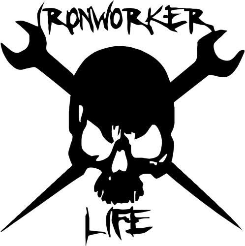 (Mandy Graphics Ironworker Life Death Skull Spud Vinyl Die Cut Decal Sticker for Car Truck Motorcycle Windows Bumper Wall Home Office Decor Size- [8 inch/20 cm] Tall and Color- Gloss Black)