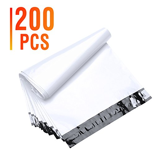 Fu Global 200Pcs 14 5X19 Poly Mailers Shipping Envelops Boutique Custom Bags Enhanced Durability Multipurpose Envelopes Keep Items Safe   Protected White