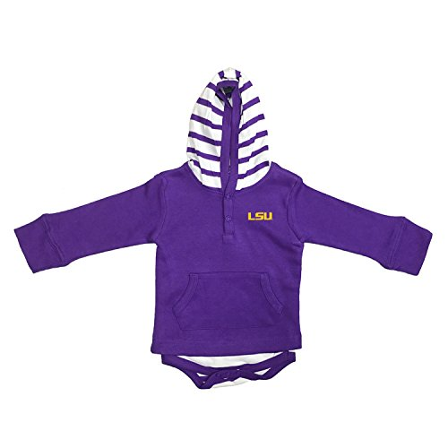 LSU Tigers Newborn Infant Striped Hooded Creeper Sweatshirt Jacket (0-3 Months)
