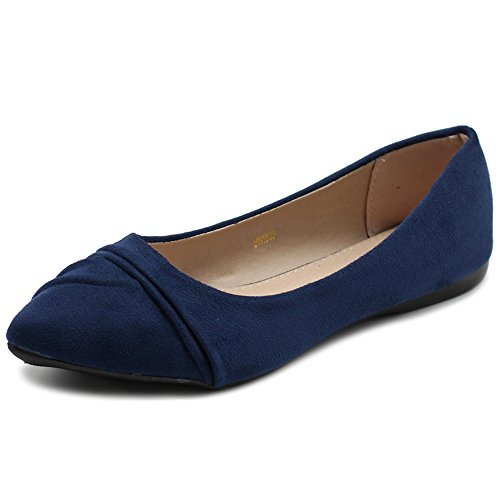 Ollio Women's Shoe Ballet Dress Faux Suede Pleated Pointed Toe Flat 1BN1833 (6 B(M) US, Navy)