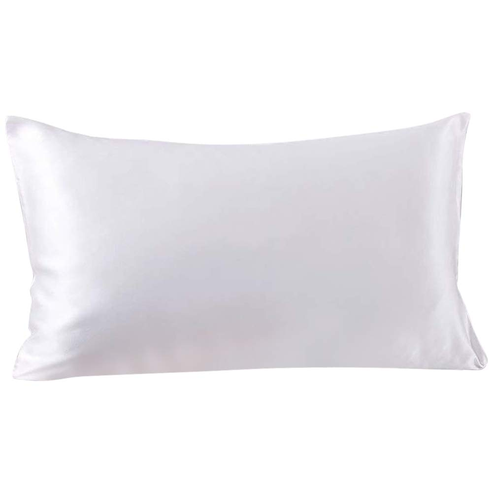 SLPBABY 100% Natural Pure Silk Pillowcase for Hair and Skin, Both Side 19 Momme Silk, Luxury Smooth Satin Pillowcase Cover with Hidden Zipper (King, White)