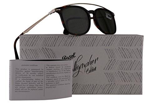 Persol PO3173S Calligrapher Edition Sunglasses Dark Havana Gold w/Dark Green Lens 54mm 2431 PO 3173-S PO3173-S PO - James Persol Sunglasses Bond