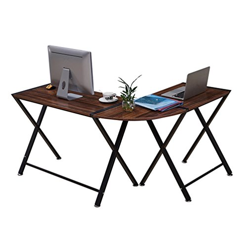 GreenForest L-Shaped Computer Desk 3 Pieces Corner Desk PC Laptop Office Table Simple Home Office Workstation, 3D Wulnut by GreenForest