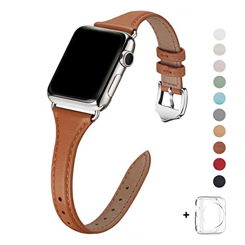 WFEAGL Leather Bands Compatible with Apple Watch 38mm 40mm 42mm 44mm, Top Grain Leather Band Slim & Thin Wristband for iWatch Series 5 & Series 4/3/2/1 (Brown Band+Silver Adapter, 38mm 40mm)