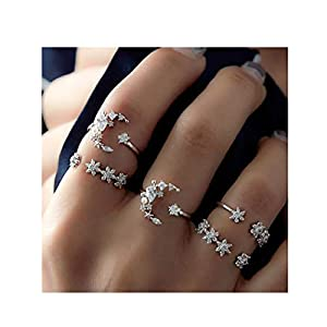 Edary Boho Crystal Rings Set Moon Rhinestone Joint Knuckle Ring Set Silver Rings for Women and Girls.(5PCS)