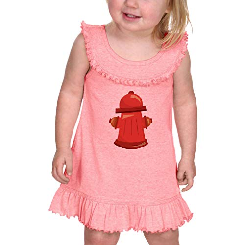 Hydrant Taped Neck Cotton/Polyester Infant Girl Ruffle Tank Dress - Flamingo, 12 Months