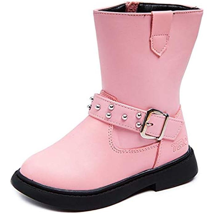 DADAWEN Kid's Girl's Waterproof Buckle Strap Side Zipper Mid Calf Combat Fur Lined Winter Snow Boots (Toddler/Little Kid/Big Kid)