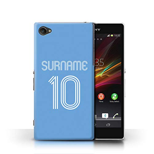 Personalized Custom Soccer Club Jersey Shirt Kit Case for Sony Xperia Z1 Compact/Sky Blue Design/Initial/Name/Text DIY Cover