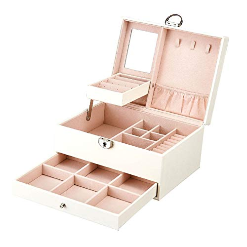 (Fashion Design Leather Jewelry Box Jewelry Case Jewelry Package Storage Large Space Jewelry Ring Necklace Bracelet,White)