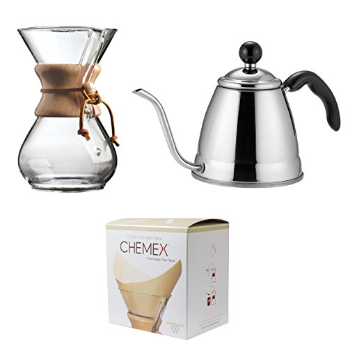 Holdem Wood (Save set Chemex Classic Wood Collar and Tie Glass 6-Cup Coffee Maker with 100 Count Bonded Circle Coffee Filters Fino Pour Over Coffee Kettle, 18/8 Stainless Steel, 6-Cup, 1.2L)