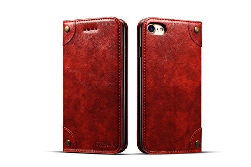 Cover Wallet Compatible with iPhone 7/8 Apple,Red Leather Retro Texture Kickstand Protective Durable Folio Card Holder Case Shell for Women Girl