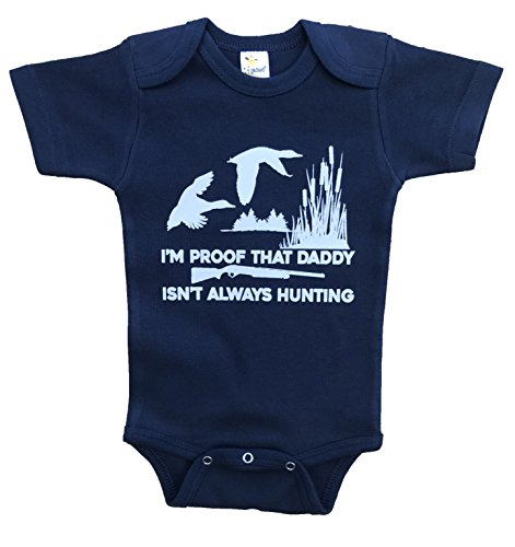 - RoyalT Wardrobe Daddy Isn't Always Hunting Duck Navy Bodysuit 100% Cotton White Text (0-3)