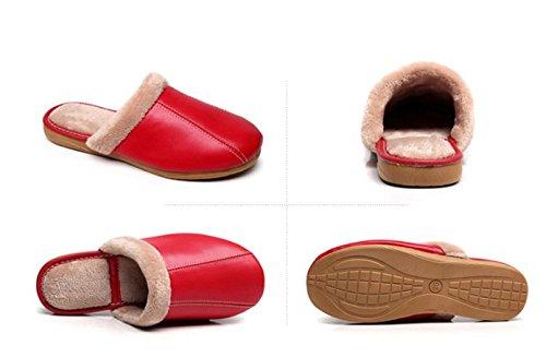 TELLW Winter Leder Pantoffeln Frauen Männer Indoor Männlich Boden Weiche Baumwoll Pantoffeln Rot