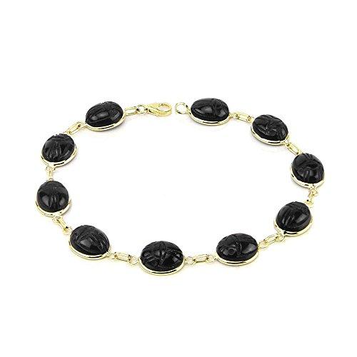 14K Yellow Gold Scarab Bracelet With Black Onyx Gemstones