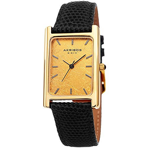Leaf Rectangular - Akribos XXIV Men's Watch - Skinny Lizard Embossed Black Genuine Leather Band, Authentic Gold Leaf Dial - Gold Tone Rectangular Case - AK1045BK