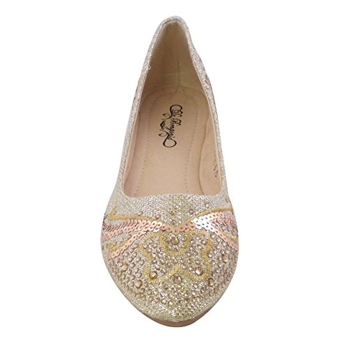 Womens Pointed Toe Ballet Flats Rhinestone GOLD US10 WOMEN by Blancho