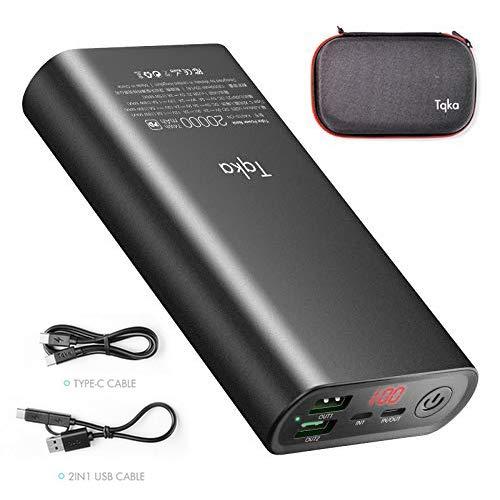 Tqka 20000mAh Portable Charger External Battery Power Bank Fast Charger,18W USB & Type C Input,Dual USB Fast Output Port for iPhone Xs Max XR X 8 iPad,Mac,Samsung,Galaxy S9,Nexus,Nintendo ()
