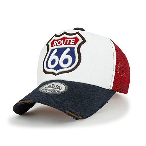 ililily Route 66 Embroidery Patch Casual Mesh Baseball Cap Trucker Hat, Navy&White, Medium
