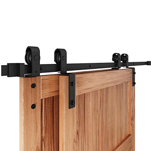EaseLife 8FT Bypass Double Sliding Barn Door Hardware Kit,Single Track Fit Double 48