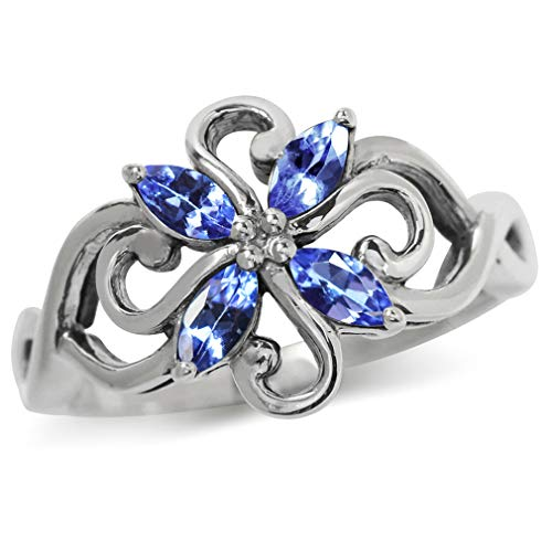 Silvershake Genuine Tanzanite 925 Sterling Silver Victorian Style Flower Ring